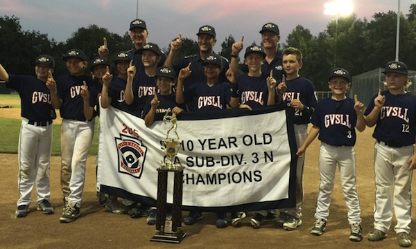 The Goleta Valley South 10-Under All Stars celebrate their sub-division championship.