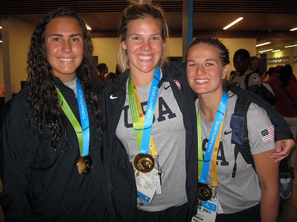 Kami Craig, Sami Hill, and Kiley Neushul wearing Pan American gold medals. (Courtesy Photo)