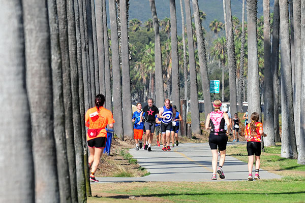 The sprint course's running leg was two miles along the waterfront's bike path.