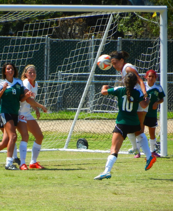 Steph Romero of SBCC heads in the second goal off a corner kick.