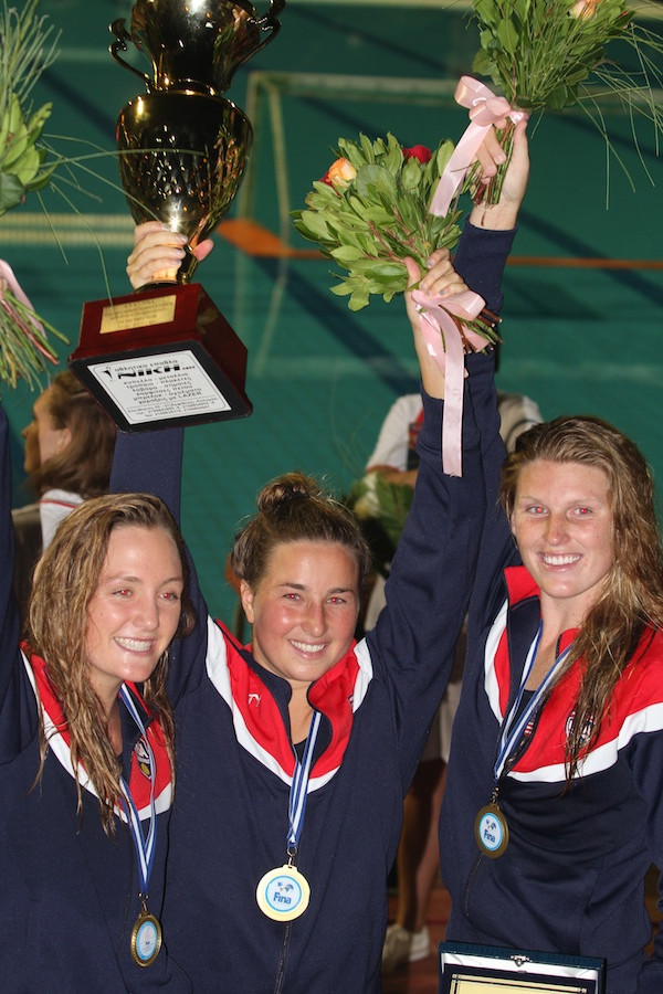 Team USA members and Santa Barbara Water Polo Club alums Mary Brooks, left, Jamie Neushul and Amanda Longan celebrate after winning the gold medal at the FINA Women's Junior World Water Polo Championship. (Peter Neushul photo)