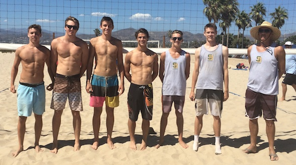 The Santa Barbara High boys beach volleyball team is, from left: Cord Pereira, JM Cage, Bolden Brace, Rowan Peake, Piper Davis, Henry Hancock and coach John Hancock. (Photo by Chad Arneson)