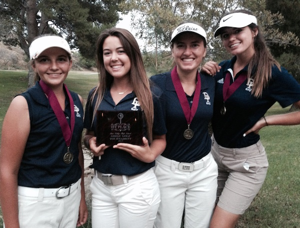 Dos Pueblos golfers celebrate their victory at the Simi Valley Tournament.