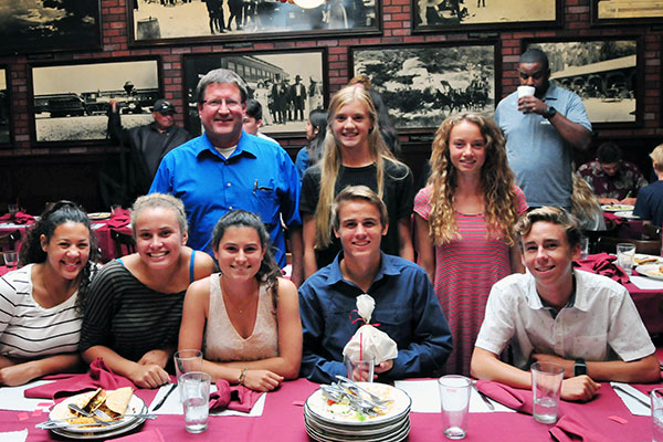 The San Marcos volleyball and cross country contingent at Monday's SBART press luncheon.