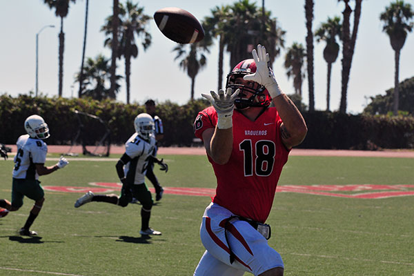 Santa Barbara City College's Jacob Ortale catches a pass for a first down on Saturday. (Presidio Sports Photos)