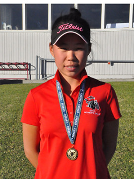 Individual State Champion Carolin Chang of SBCC.