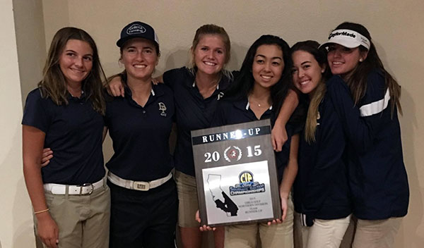 Dos Pueblos' golf team with its CIF runner-up plaque.