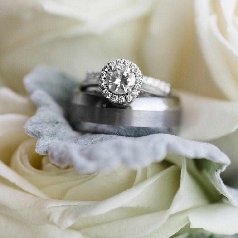 wedding ring and a wedding band