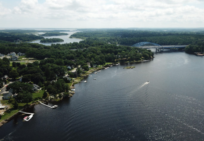 An aerial view of the Merrimack river, Massachusetts