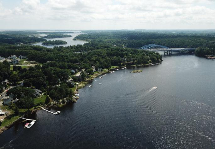 An aerial view of the Merrimack river, Massachusetts