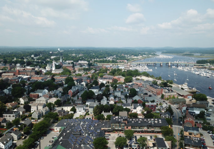 An aerial view of downtown Newburyport, Massachusetts and the Merrimack River