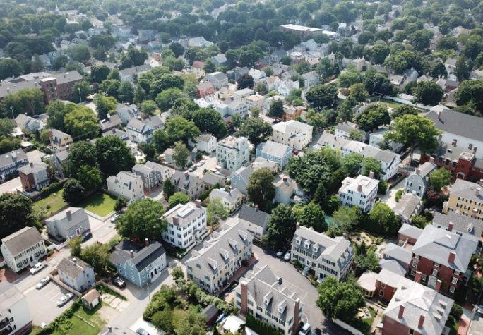 An aerial view of homes near downtown Newburyport, Massachusetts