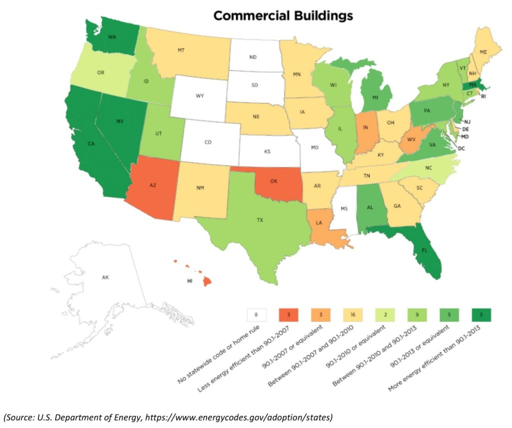 A US map color coded to show commercial energy-efficiency building codes by state.