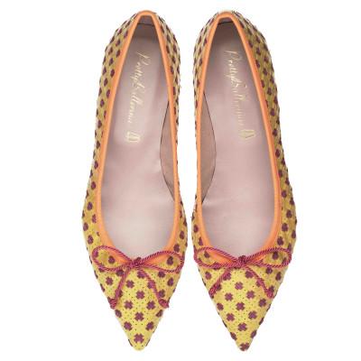 ballerina-piquenique-Ella woven yellow and orange patent $290
