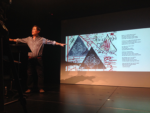 Russell Leong performs MOTHSUTRA: a visual poetry reading, at Black Box Theatre, The University of Hong Kong, 23 November 2015