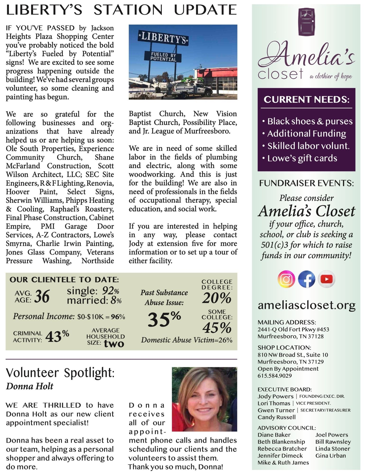 Amelias Closet Newsletter December 2020 pg 2