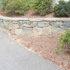 stacked building stone retaining wall