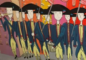 Colorful Mural of Soldiers