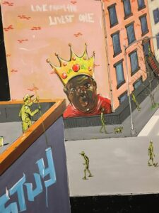 Crown Live from the Livest One Mural painting of buildings, street scene
