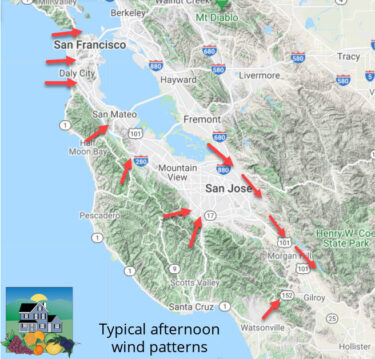 Wind Patterns in and near Silicon Valley - smoke and air quality impact