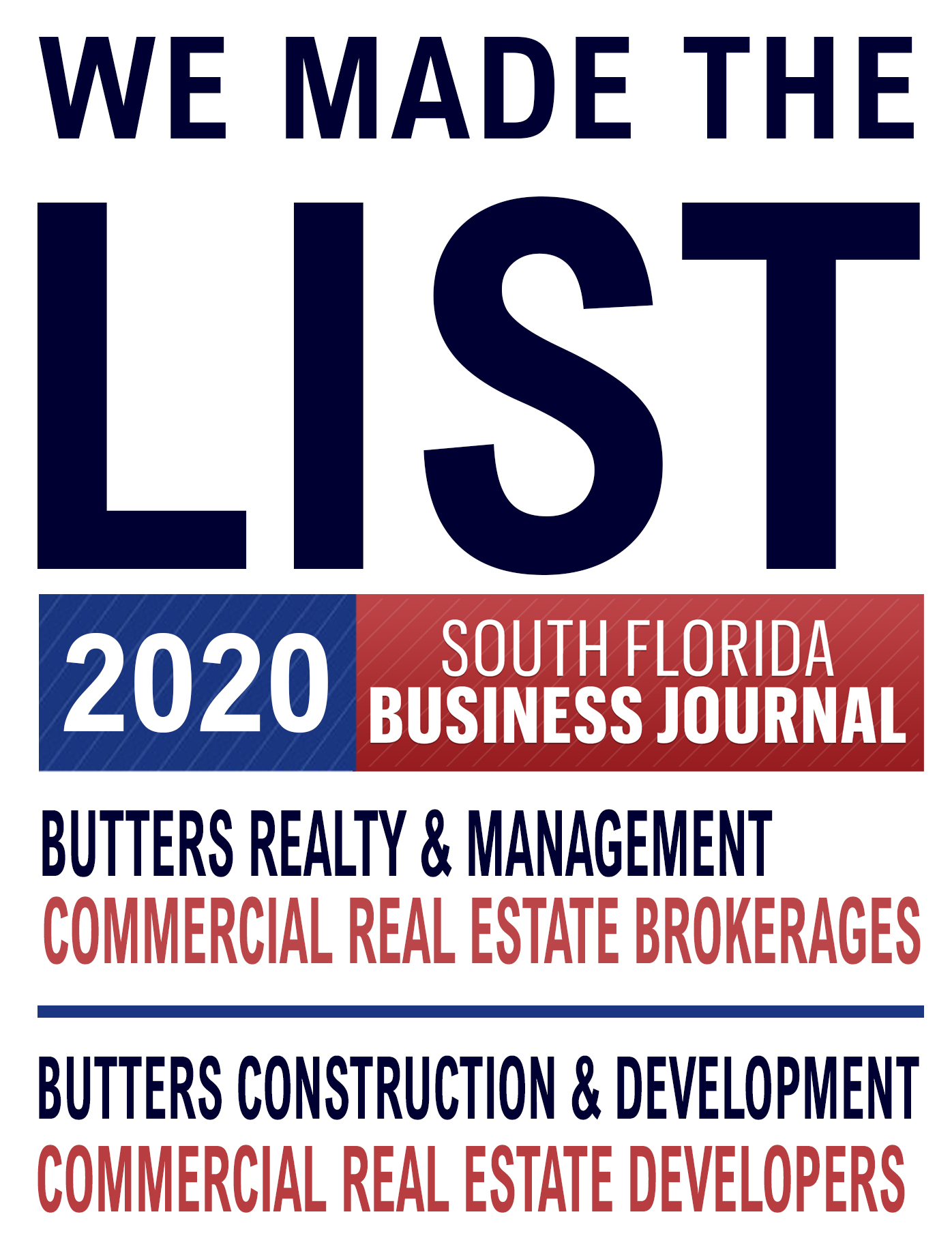 Butters Made the South Florida Business Journal List Once Again!