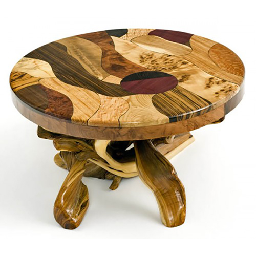 Artistic Mosaic Burl Wood Coffee Table with Juniper Base CT03084