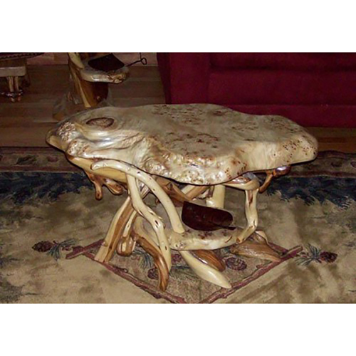 Natural Furniture Burl Wood Coffee Table With Shelf CT03096
