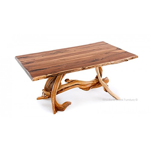 Solid Slab Log Dining Table with Artistic Base DT00576
