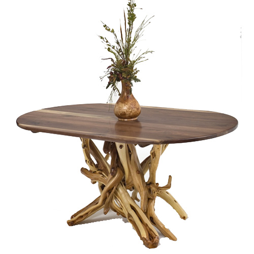 Rustic Log Dining Table with Oval Wood Top DT00137