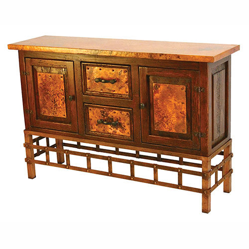 2 Door 2 Drawer Copper Sofa Table w/ Remaches Base CON-3 RB CU