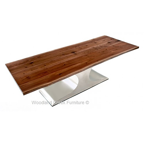 Modern Dining Table with Stainless Wave Base DT01012-1