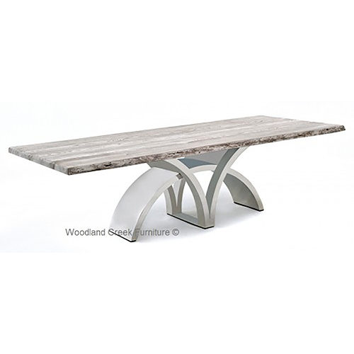 White Top Dining Table with Contemporary Stainless Steel Base DT01013