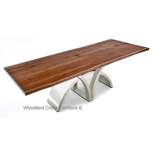 Mahogany Dining Table with Stainless Steel Base DT01013