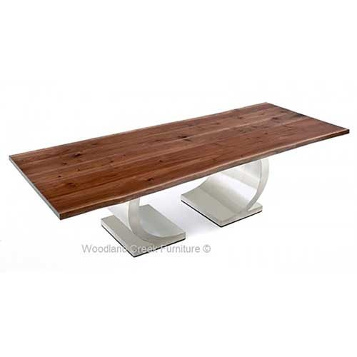 Mahogany Dining Table with Modern Half Circle Base DT01010
