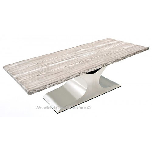 White Top Dining Table with Stainless Wave Base DT01012
