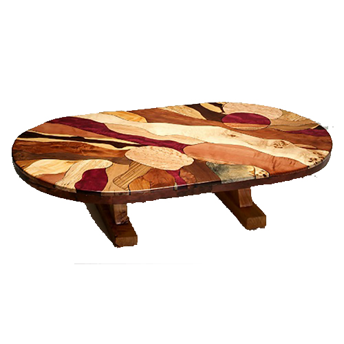 Artistic Round Burl Wood Coffee Table with Juniper Base CO03084