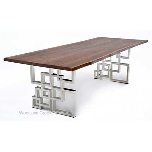 Mahogany Dining Table with Modern Geometric Base DT01009
