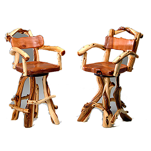 Rustic Redwood and Juniper Log Bar Stool with Arms BS00805