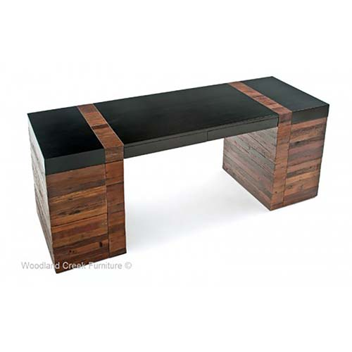 Rustic Wood Desk with 6 Drawers OF07320-1