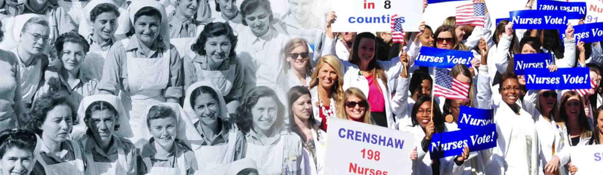 Historic nurses blending into current-day photo of nurses