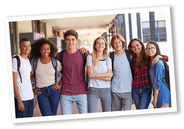teens in school hallway
