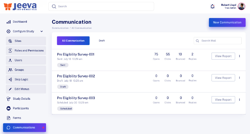 Jeeva SaaS platform dashboard