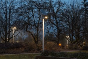 Pathway lighting units after dark.