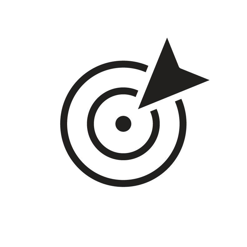 Arrow pointing to centre dot on digital target