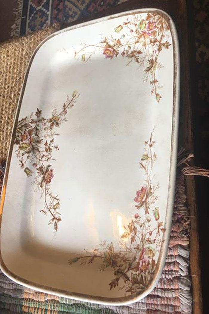 Antique brown transferware platters English