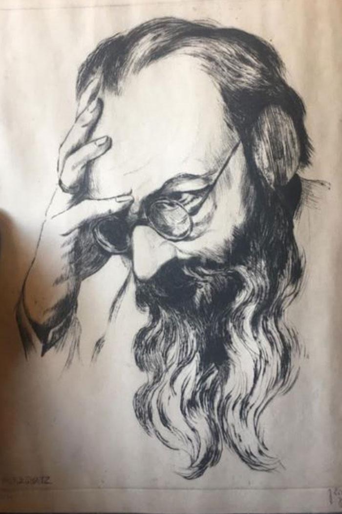 Vtg etching by J. Eisenberg signed #D