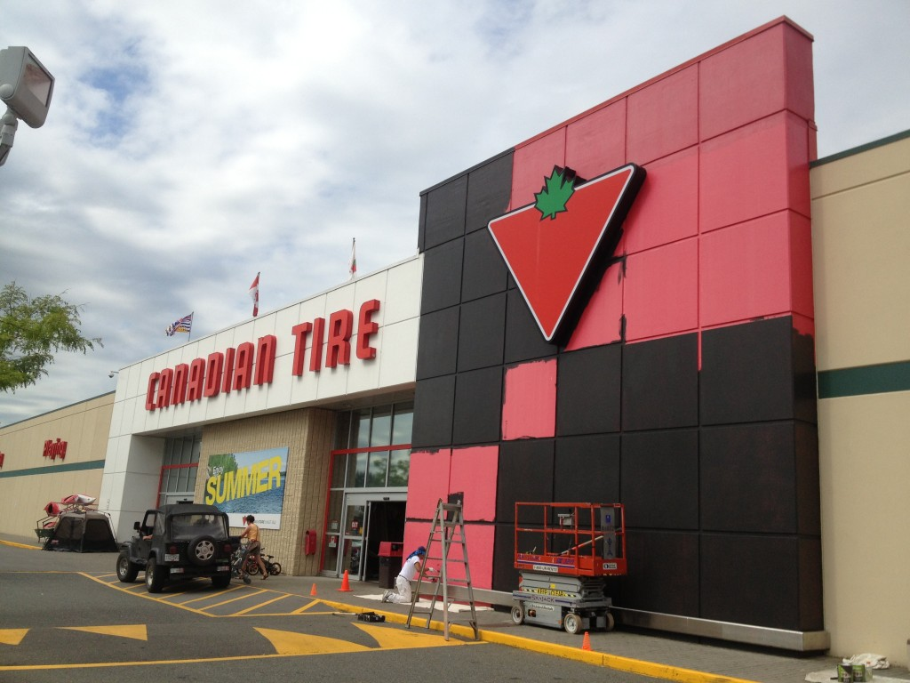 Exterior repaint of the Abbotsford Canadian Tire