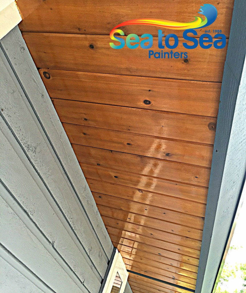 Sunfast varnished soffits. Natural wood texture with glossy sheen!
