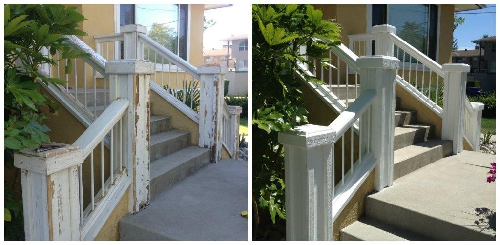 repaint of house step railings in Port Coquitlam, BC