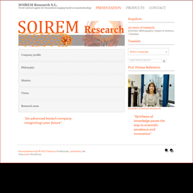 Página principal y de bienvenida de Soirem Research.